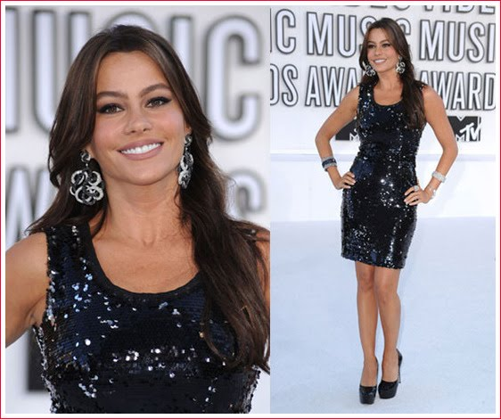 Sofia Vergara added some glitz to an LBD in this black sequin shift Dolce ...
